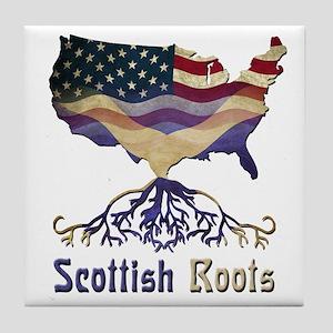 American Scottish Roots Tile Coaster
