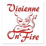 Vivienne On Fire Square Car Magnet 3