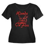 Wanda On Fire Women's Plus Size Scoop Neck Dark T-