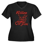Willow On Fire Women's Plus Size V-Neck Dark T-Shi