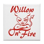 Willow On Fire Tile Coaster