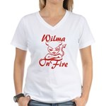 Wilma On Fire Women's V-Neck T-Shirt