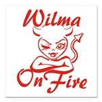 Wilma On Fire Square Car Magnet 3