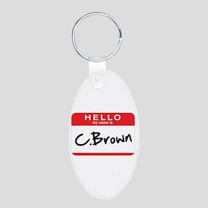 C.Brown Aluminum Oval Keychain