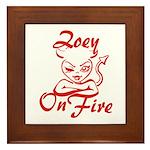 Zoey On Fire Framed Tile