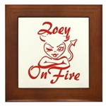 Zoey On Fire Framed Tile