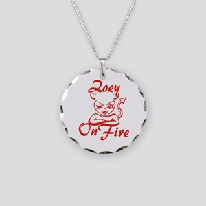 Zoey On Fire Necklace Circle Charm