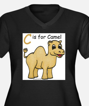 Funny Camel Women's Plus Size V-Neck Dark T-Shirt