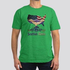 American Scottish Roots Men's Fitted T-Shirt (dark