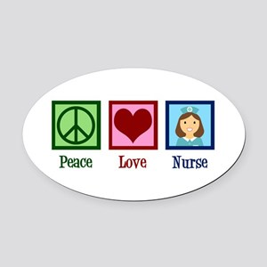 Peace Love Nurse Oval Car Magnet