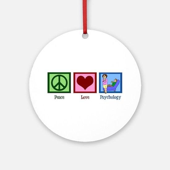 Peace Love Psychology Ornament (Round)