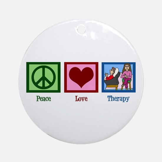 Peace Love Therapy Ornament (Round)