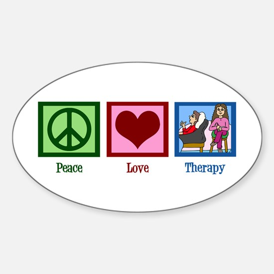 Peace Love Therapy Sticker (Oval)
