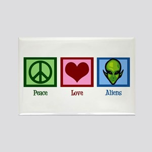 Peace Love Aliens Rectangle Magnet