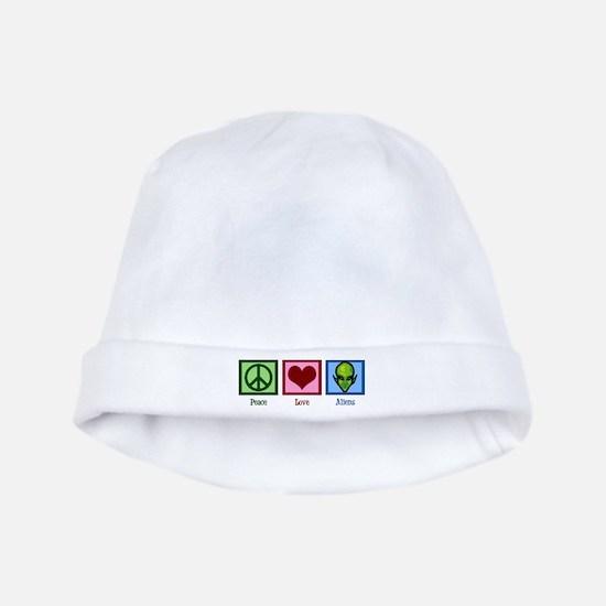 Peace Love Aliens baby hat