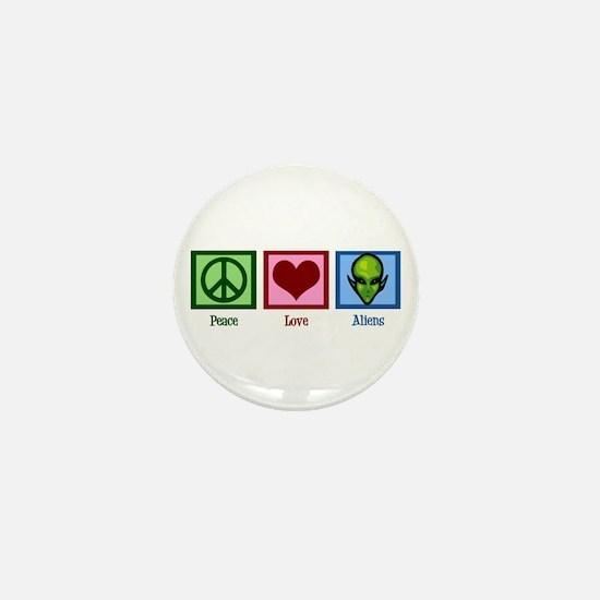 Peace Love Aliens Mini Button