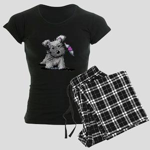 KiniArt Schnauzer Heart Women's Dark Pajamas