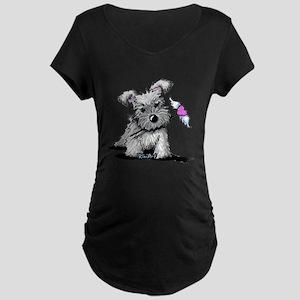 KiniArt Schnauzer Heart Maternity Dark T-Shirt