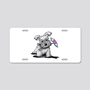 KiniArt Schnauzer Heart Aluminum License Plate