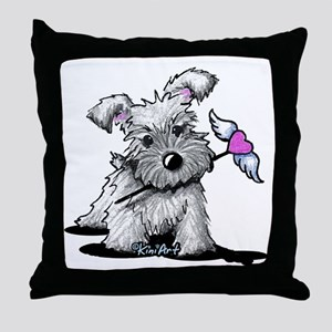 KiniArt Schnauzer Heart Throw Pillow