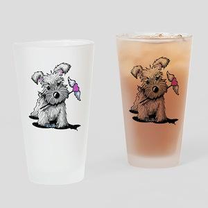 KiniArt Schnauzer Heart Drinking Glass