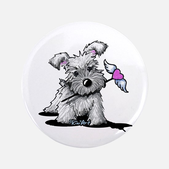"KiniArt Schnauzer Heart 3.5"" Button"