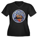 USS RAY Women's Plus Size V-Neck Dark T-Shirt