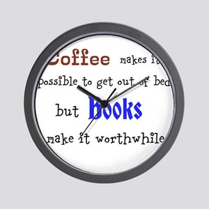 Coffee and Books Wall Clock