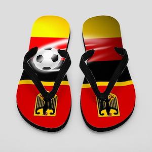German Deutschland Football Soccer Flip Flops