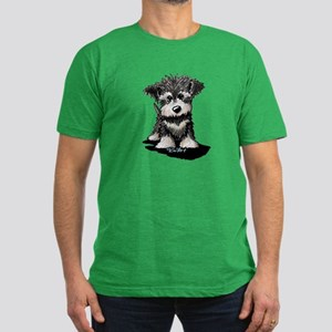 KiniArt Schnauzer Pup Men's Fitted T-Shirt (dark)