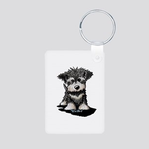 KiniArt Schnauzer Pup Aluminum Photo Keychain