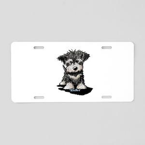 KiniArt Schnauzer Pup Aluminum License Plate
