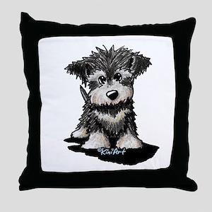 KiniArt Schnauzer Pup Throw Pillow