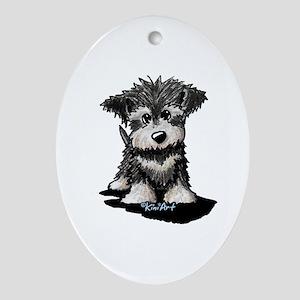 KiniArt Schnauzer Pup Ornament (Oval)