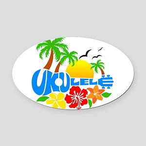 Ukulele Island Logo Oval Car Magnet