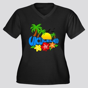 Ukulele Island Logo Women's Plus Size V-Neck Dark