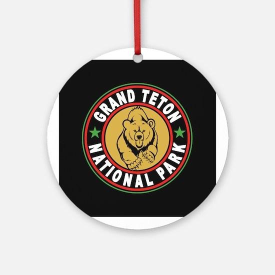 Grand Teton Black Circle Ornament (Round)
