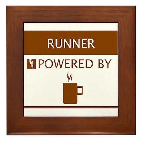 Runner Powered by Coffee Framed Tile