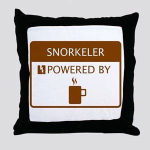 Snorkeler Powered by Coffee Throw Pillow