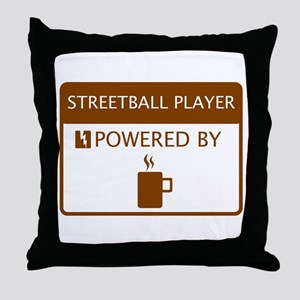 Streetball Player Powered by Coffee Throw Pillow