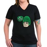 Mr. Melon Head Women's V-Neck Dark T-Shirt