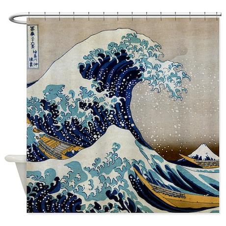 cool shower curtains. Hokusai - Kanagawa Shower Curtain Cool Curtains C