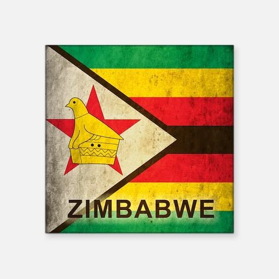 "Vintage Zimbabwe Square Sticker 3"" x 3"""
