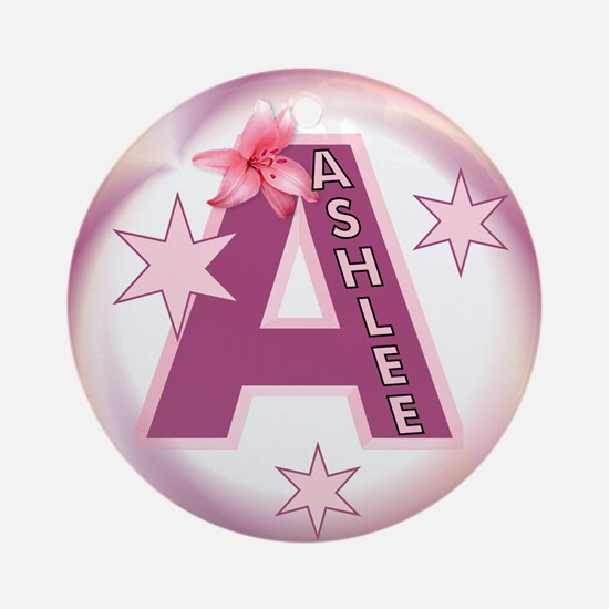 Ashlee Star Initial Ornament (Round)