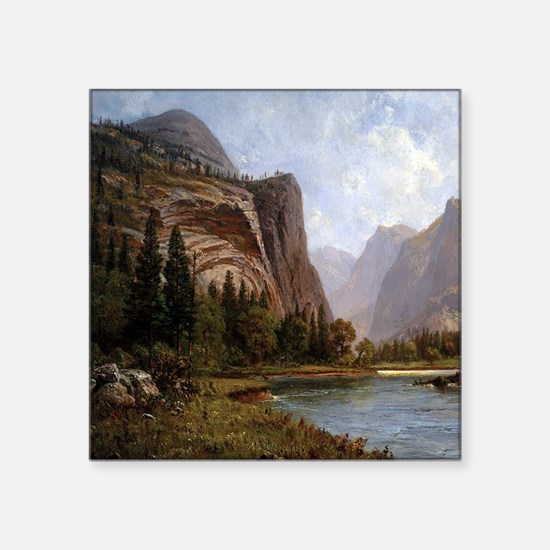 "Bierstadt Gates Of Yosemite Square Sticker 3"" x 3"""