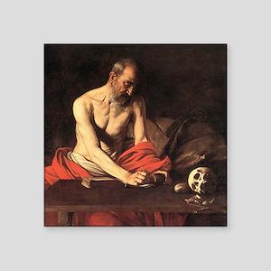 """Caravaggio St Jerome Square Sticker 3"""" x 3"""""""