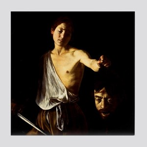 Caravaggio David Goliath Tile Coaster