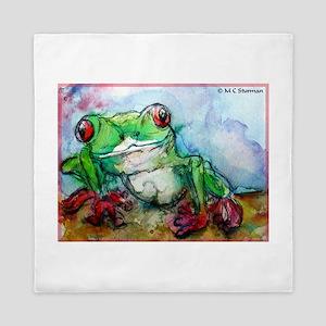 Tree Frog, rainforest, art! Queen Duvet