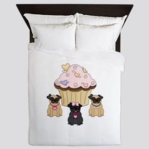 Cupcake Pug Dogs Queen Duvet