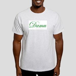 Cursive Green Damu  Ash Grey T-Shirt